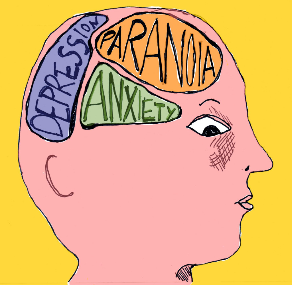 Image of a person's head side on, with three sections of the brain highlighted as Depression, Paranoia, and Anxiety